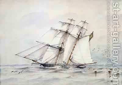 The Slaver Esmeralda captured on 1 November 1864 off Loango by C.G. Nelson - Reproduction Oil Painting