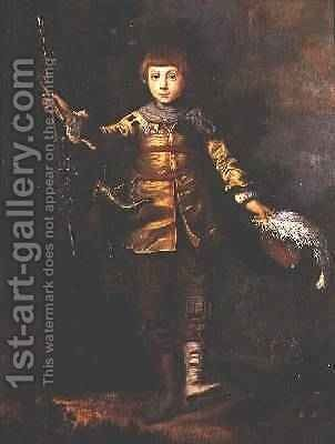 Portrait of a young boy dancing in a wood by Eglon van der Neer - Reproduction Oil Painting