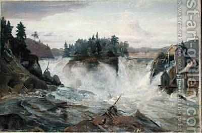 Waterfall in the Mountains 1836 by Hermann Joseph Neefe - Reproduction Oil Painting