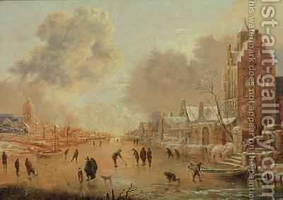 Frozen River with Skaters by Aert van der Neer - Reproduction Oil Painting