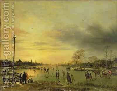 A Skating Scene 1655-60 by Aert van der Neer - Reproduction Oil Painting