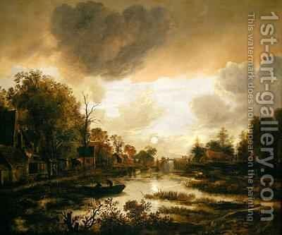 A River Landscape by Moonlight 2 by Aert van der Neer - Reproduction Oil Painting