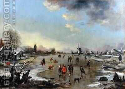 Winter Landscape at Sunset 1650-55 by Aert van der Neer - Reproduction Oil Painting