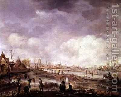 Town on a Frozen River 2 by Aert van der Neer - Reproduction Oil Painting