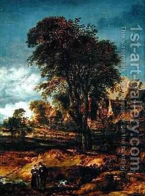 Moonlit wooded landscape with a couple conversing by Aert van der Neer - Reproduction Oil Painting