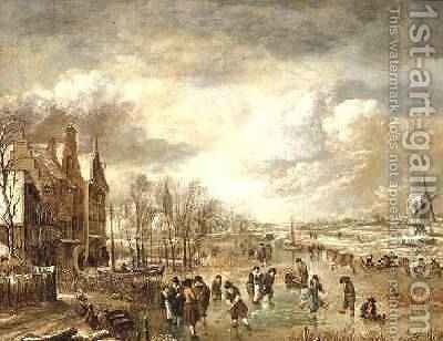 Winter Landscape with Skaters by Aert van der Neer - Reproduction Oil Painting