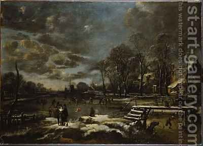 A Winter River Landscape with Figures Playing Golf and Skating by Aert van der Neer - Reproduction Oil Painting