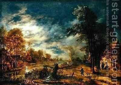 Moonlit Landscape with a Village by Aert van der Neer - Reproduction Oil Painting
