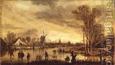 A River in Winter 2 by Aert van der Neer - Reproduction Oil Painting