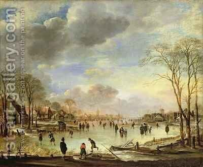 Winter Sports on a Frozen Canal by Aert van der Neer - Reproduction Oil Painting