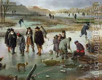 Ice Skating outside the City Walls detail of ice hockey players by Aert van der Neer - Reproduction Oil Painting