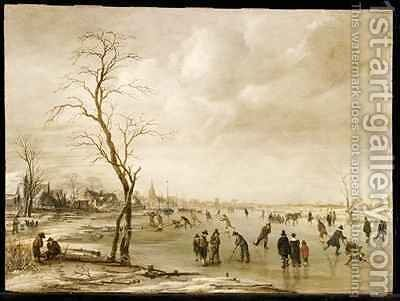 A Winter Landscape with Townsfolk Skating and Playing Kolf on a Frozen River a Town Beyond by Aert van der Neer - Reproduction Oil Painting