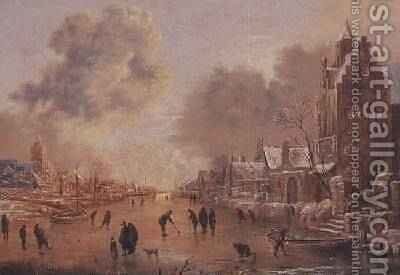 A Canal in Winter by Aert van der Neer - Reproduction Oil Painting