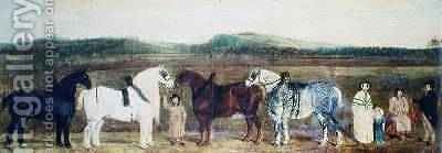 A Farmer with his family farm workers and four shire horses by (attr. to) Nedham, William - Reproduction Oil Painting