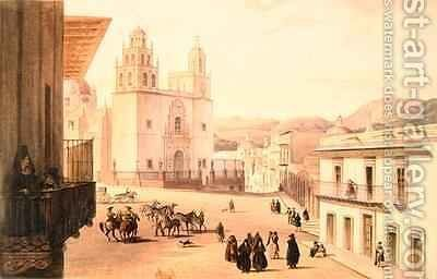 Plaza Mayor de Guonajuato by Carlos Nebel - Reproduction Oil Painting