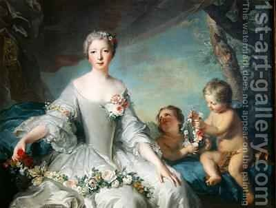 Portrait presumed to be Louise Diane dOrleans 1716-36 as Flora 1731 by Jean-Marc Nattier - Reproduction Oil Painting
