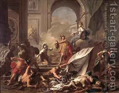 Perseus under the protection of Minerva turns Phineus to stone by brandishing the head of Medusa by Jean-Marc Nattier - Reproduction Oil Painting