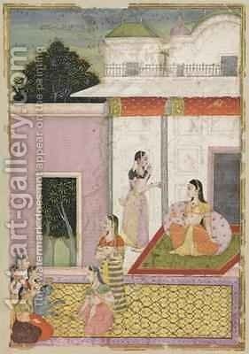 Krishna Comes to Visit Radha by (attr. to) Natthu - Reproduction Oil Painting