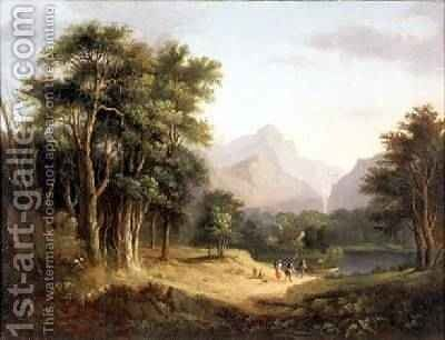 Highland Landscape with Figures by Alexander Nasmyth - Reproduction Oil Painting