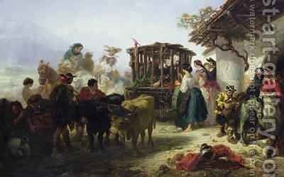 Don Quixote in a Cage by Celestin Francois Nanteuil - Reproduction Oil Painting