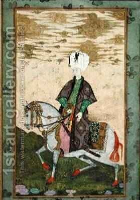 Equestrian portrait of Sultan Osman II 1603-22 1618 by Nakshi - Reproduction Oil Painting