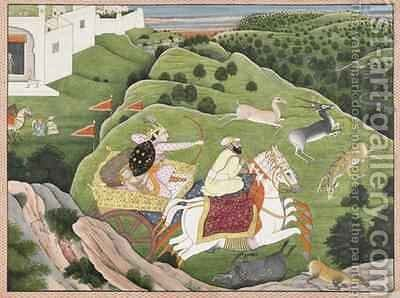 Prince Hunting Antelope and Boar from Guler Punjab Hills 1810 by (attr. to) Nainsukh Family - Reproduction Oil Painting