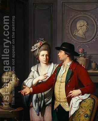 Samuel Nahl Shows his Bride a Bust of his Brother 1782 by Johann August the Younger Nahl - Reproduction Oil Painting