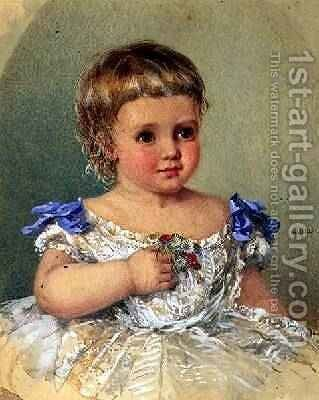 Portrait of a Child with a Posy of Wild Flowers 1871 by Isabel Oakley Naftel - Reproduction Oil Painting