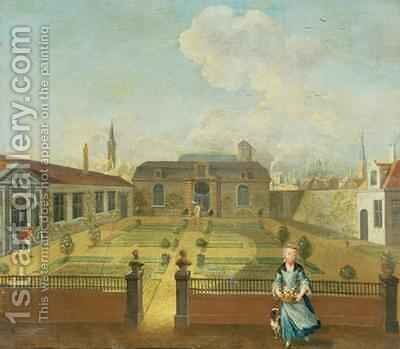 A Young Lady with her Dog in front of a Garden by (circle of) Mytens-Meytens, Martin II - Reproduction Oil Painting