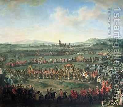 The Entrance of Emperor Francis I 1708-65 into Frankfurt by Martin II Mytens or Meytens - Reproduction Oil Painting