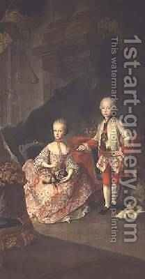 Two children of Empress Maria Theresa of Austria 1717-80 Leopold 1747-92 by Martin II Mytens or Meytens - Reproduction Oil Painting