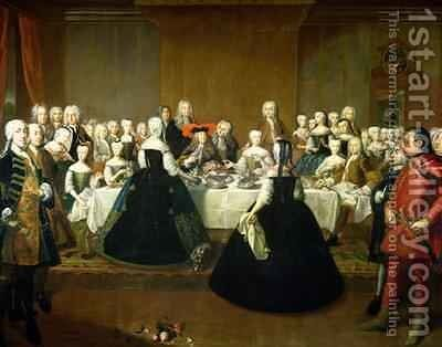 Wedding Breakfast of Empress Maria Theresa of Austria and Francis of Lorraine later Francis I 1736 by Martin II Mytens or Meytens - Reproduction Oil Painting