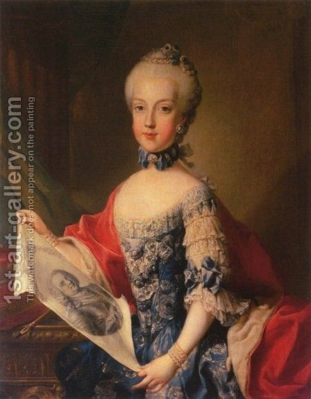 Archduchess Maria Carolina 1752-1814 by Martin II Mytens or Meytens - Reproduction Oil Painting