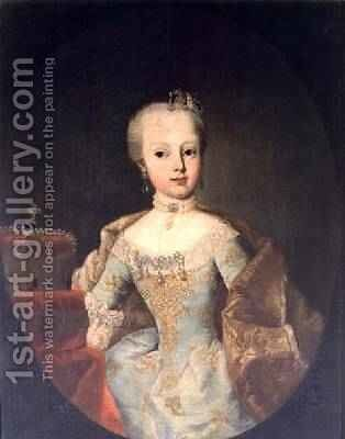 Archduchess Maria Josepha Habsburg-Lothringen 1751-67 by Martin II Mytens or Meytens - Reproduction Oil Painting