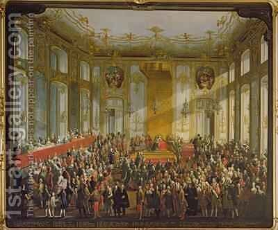Empress Maria Theresa at the Investiture of the Order of St Stephen 1764 by Martin II Mytens or Meytens - Reproduction Oil Painting