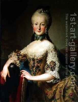 Archduchess Maria Elisabeth Habsburg-Lothringen 1743-1808 by Martin II Mytens or Meytens - Reproduction Oil Painting
