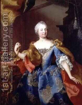 Portrait of Empress Maria Theresa of Austria by Martin II Mytens or Meytens - Reproduction Oil Painting