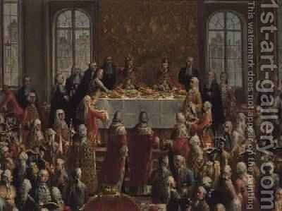 The Coronation Banquet of Joseph II 1741-90 Emperor of Germany 1764 by Martin II Mytens or Meytens - Reproduction Oil Painting