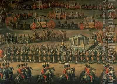The arrival of Isabella of Parma on the occasion of her wedding to Joseph II by Martin II Mytens or Meytens - Reproduction Oil Painting