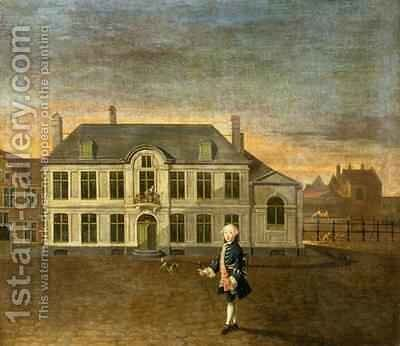 A Young Nobleman Standing before a Mansion by Martin II Mytens or Meytens - Reproduction Oil Painting