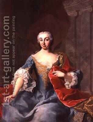 Katherina Countess Harrach nee Countess Bouqnoy wife of Count Karl Anton von Harrach by Martin II Mytens or Meytens - Reproduction Oil Painting