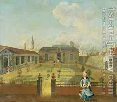 A Young Lady with her Dog in front of a Garden by Martin II Mytens or Meytens - Reproduction Oil Painting