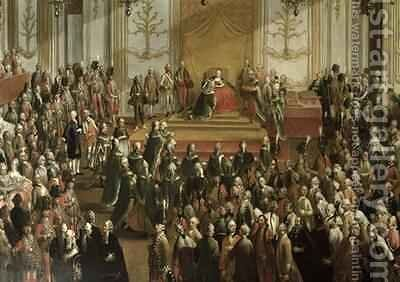 Maria Theresa at the Investiture of the Order of St Stephen 1764 by Martin II Mytens or Meytens - Reproduction Oil Painting