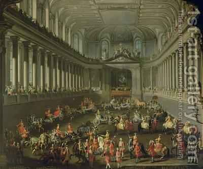 A Cavalcade in the Winter Riding School of the Vienna Hof to celebrate the defeat of the French army at Prague 1743 by Martin II Mytens or Meytens - Reproduction Oil Painting