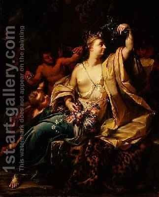 Bacchante with a putto satyrs and nymphs by Herman van der Myn - Reproduction Oil Painting