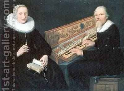 Couple at the Clavichord 1648 by Jan Barendsz Muyckens - Reproduction Oil Painting