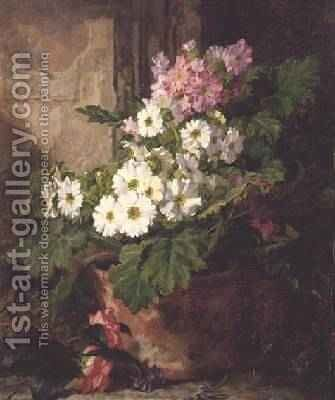 Still life of primulas by Martha Darley Mutrie - Reproduction Oil Painting