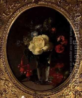 Still Life of a Yellow Rose Mignonette and Fuchsias by Annie Feray Mutrie - Reproduction Oil Painting