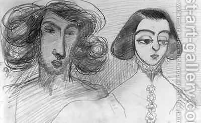 Self Portrait with George Sand 1804-76 by Alfred de Musset - Reproduction Oil Painting