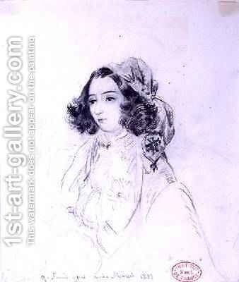 George Sand 1804-76 Wearing a Headscarf 1833 by Alfred de Musset - Reproduction Oil Painting